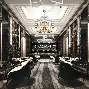 现代欧式客餐厅3d模型