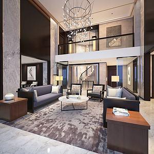 现代别墅客厅3d模型