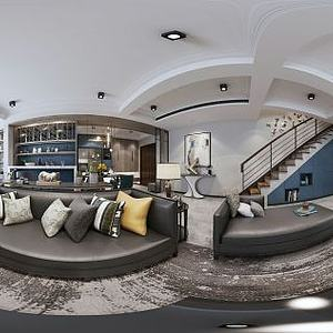 美式客廳餐廳樓梯模型3d模型