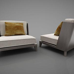 新中式单人沙发模型