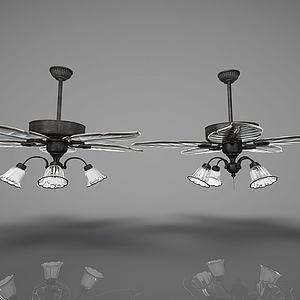 现代风格风扇吊灯模型