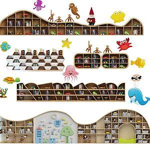 现代儿童书柜组合模型
