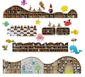 现代儿童书柜组合3d模型