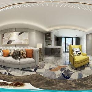 新现代客厅沙发壁柜模型3d模型