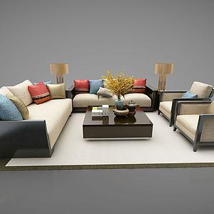 新中式风格沙发组合模型