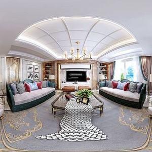 现代客厅沙发壁画组合模型