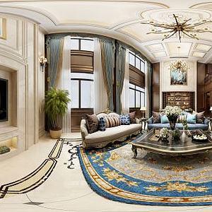 欧式别墅客厅沙发酒柜模型