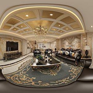 欧式客厅餐厅模型