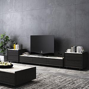 现代电视柜茶几组合模型