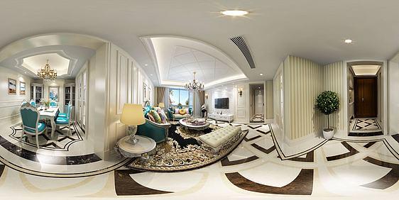 现代风格客餐厅全景3d模型