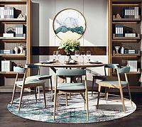 中式餐厅圆桌单椅背景墙3d模型