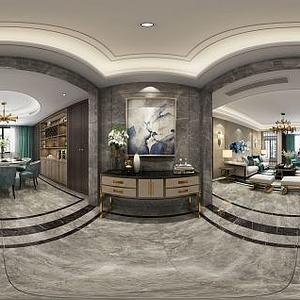 现代客厅餐厅玄关柜模型