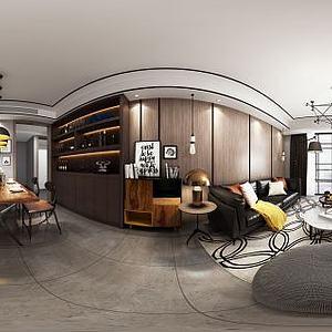 中式客厅餐厅酒柜模型