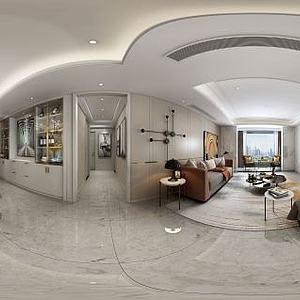 现代客厅餐厅酒柜模型