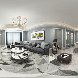 现代客厅餐厅转角沙发模型
