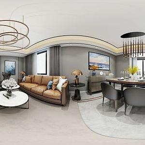 新现代客厅餐厅模型