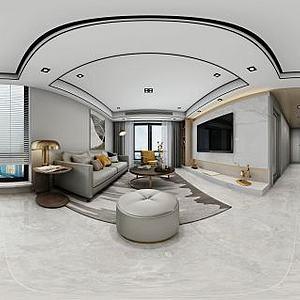 现代客厅餐厅模型