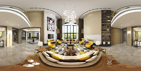 3d现代简约客餐厅全景模型