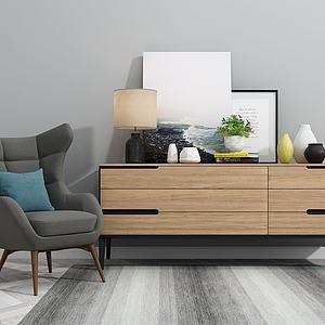 北欧电视柜单椅摆件组合模型