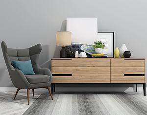 北欧电视柜单椅摆件组合3d模型