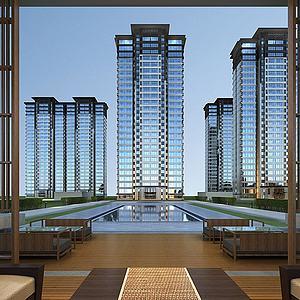 中式住宅大楼大厦模型