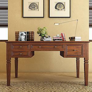 美式写字台书桌台灯书籍3d模型