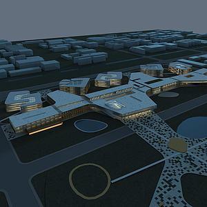 现代规划综合建筑模型