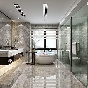 现代酒店卫生间卫浴模型