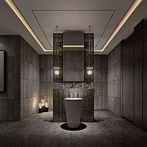 新中式酒店卫生间模型