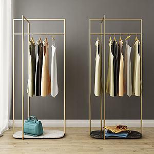 现代金属衣架组合3d模型