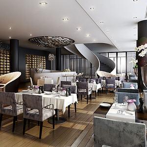 现代餐厅餐馆空间模型