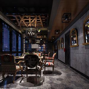 餐厅餐馆空间模型