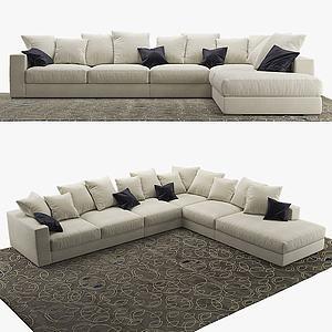 现代多人转角沙发3d模型