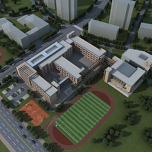 学校教学楼操场模型