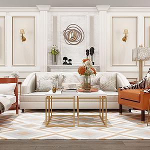 现代皮革沙发茶几模型