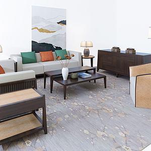 沙发茶几组合模型