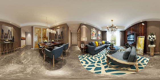 3d美式客厅餐厅模型