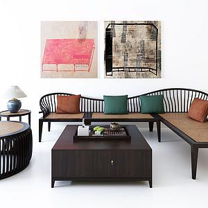 创意沙发茶几组合模型