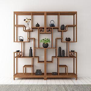 创意实木边柜模型