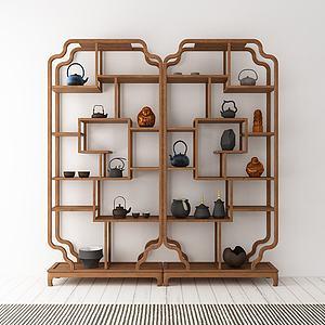 创意造型实木边柜模型