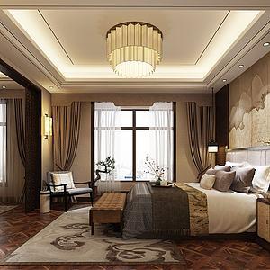 新中式卧室双人床模型