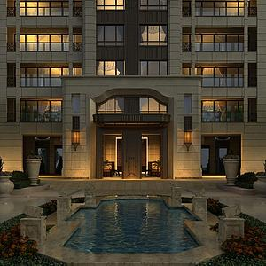 住宅楼入口景观模型