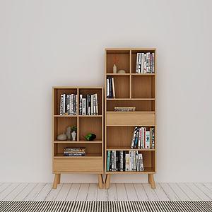 实木书柜边柜模型