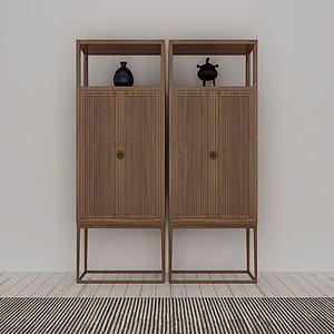 简约实木边柜模型