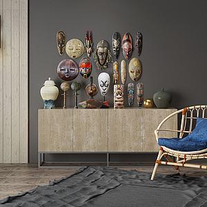 边柜休闲椅面具摆件组合模型