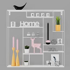 简约置物柜架陈设品模型