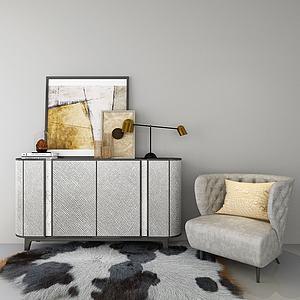 现代边柜休闲沙发组合模型