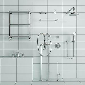 现代淋浴花洒五金件组合模型