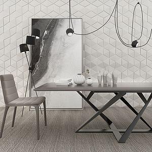 3d北欧桌椅组合模型