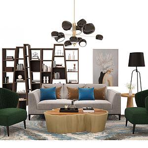 现代沙发置物架模型